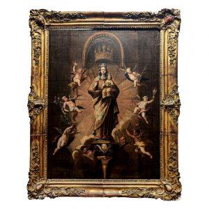 Hst Ecole Espagnole XVIIIe Vierge en majesté