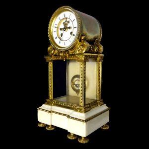 Pendule bronze et marbre mouvement TROCHON XIXe