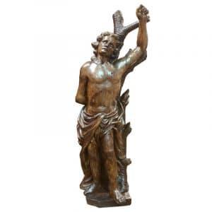 Statue St Sebastien bois sculpté