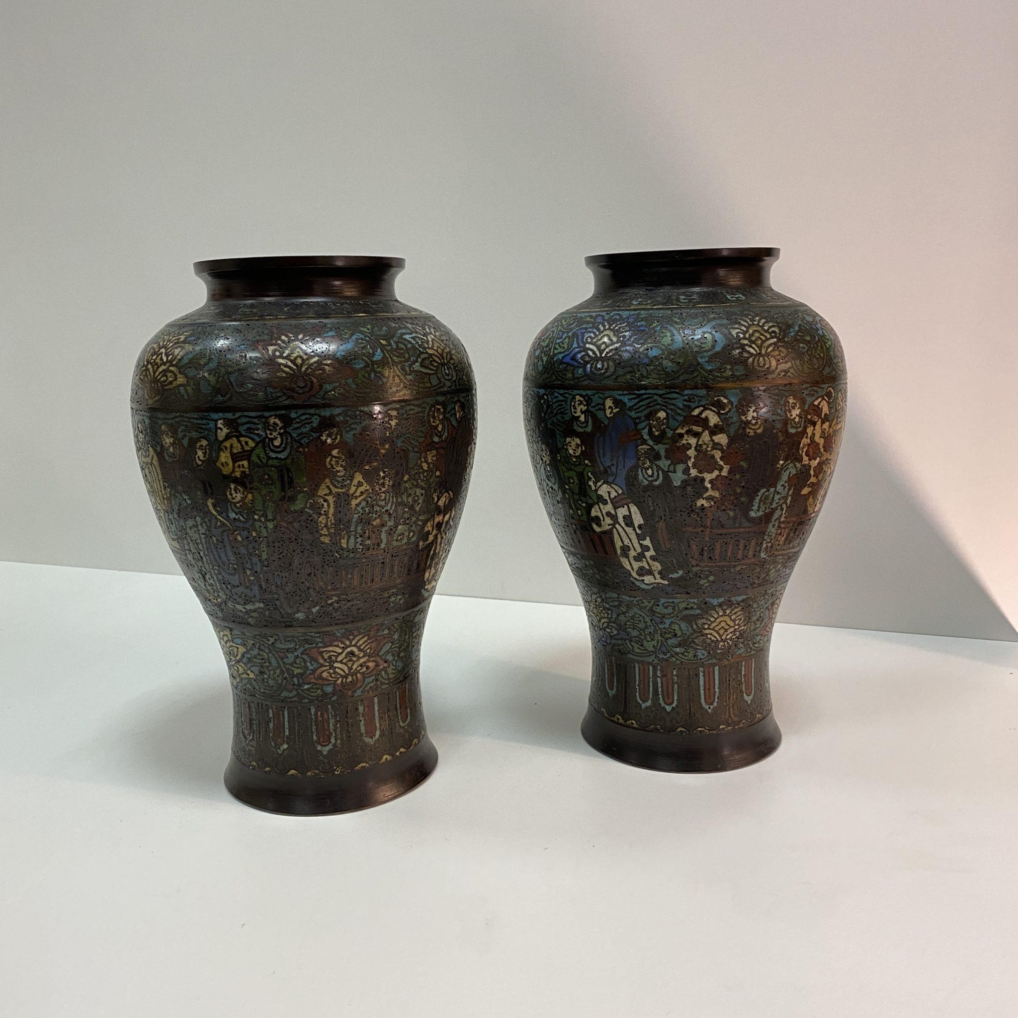 Vases balustre bronze Japon