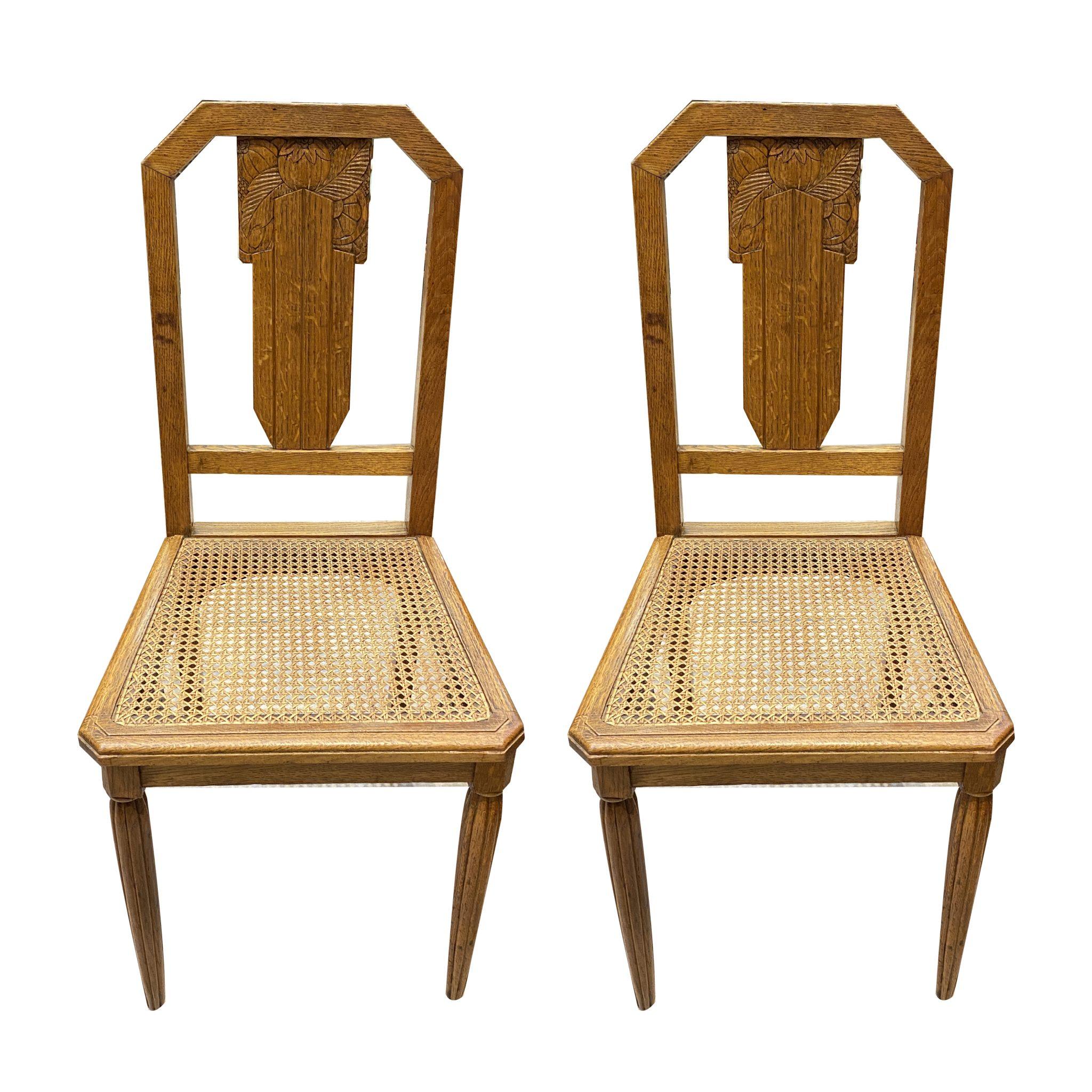 4 chaises Art Déco cannées