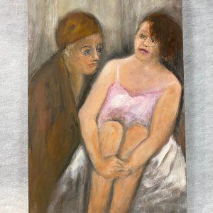 Huile sur toile, deux femmes