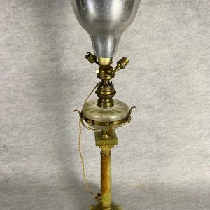 Lampe à pétrole onyx, bronze et cristal