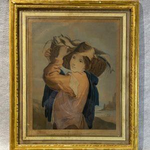 Gravure anglaise, 1800, cadre bois doré
