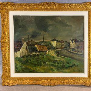 Huile sur toile, Robet Lavoine, Les faubourgs de Martinville, Rouen
