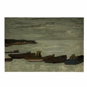 Roger Argenton Les chalutiers au mouillage Port Breton