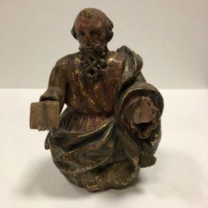 Religieux bois sculpté polychrome