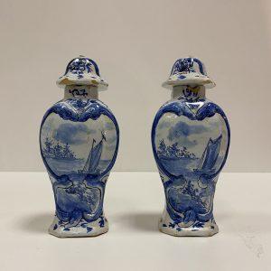 Pots couvert Delft XVIIIe