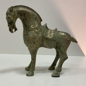 Cheval bronze incrusté d'argent Chine
