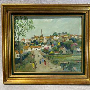Huile sur la toile La Promenade, Henry Leclerc