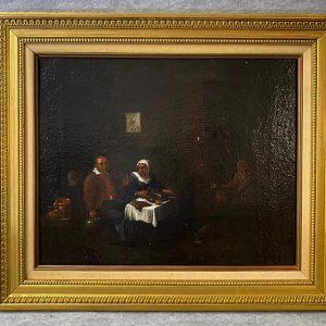 Huile sur toile, scène de cabaret Flamande, XVIIIe