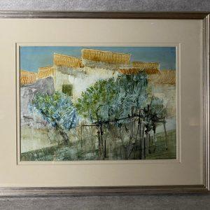 Frederik Donald Blake, jardin en Toscane, aquarelle signée