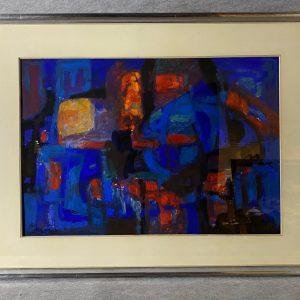 Gouache Abstraction rouge fond bleu, Serge Lifar