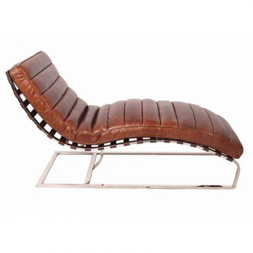 Chaise longue cuir et chrome